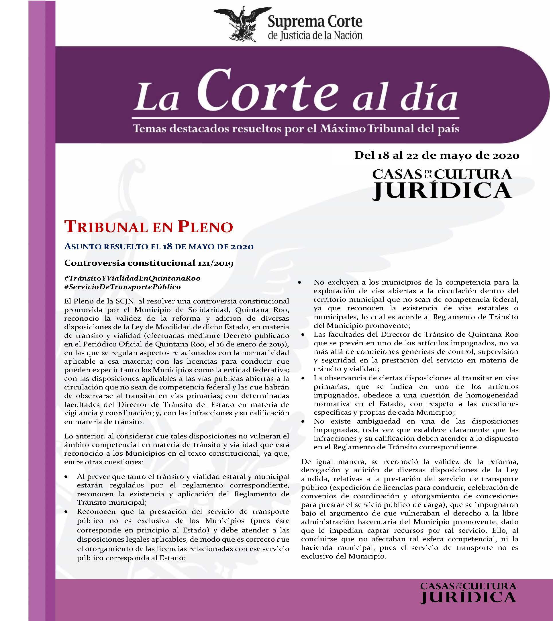 La Corte al Día. Temas destacados resueltos por la Suprema Corte de Justicia de la Nación. Del 18 al 22 de mayo de 2020 - 01