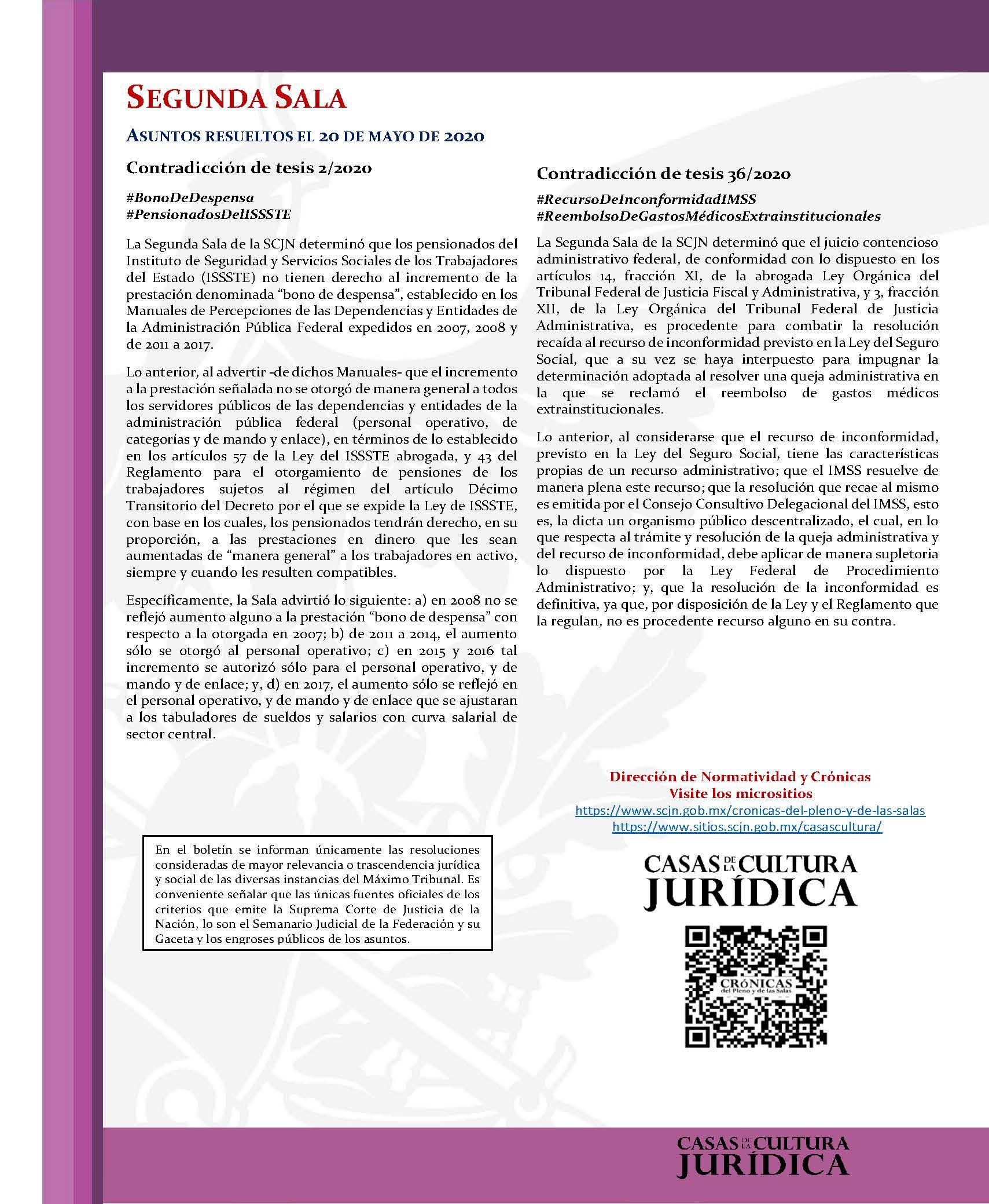 La Corte al Día. Temas destacados resueltos por la Suprema Corte de Justicia de la Nación. Del 18 al 22 de mayo de 2020 - 04